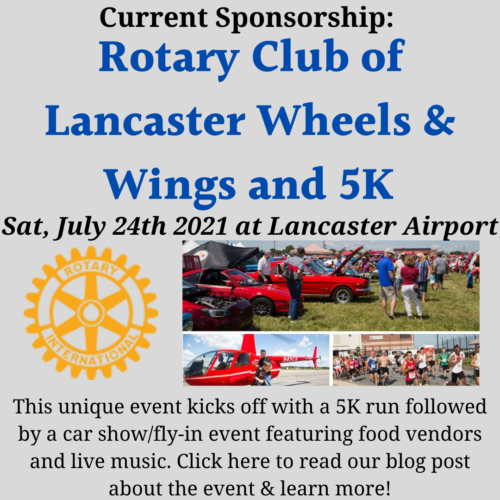 Flyer for Rotary Club of Lancaster's Wheels & Wings festival and 5k
