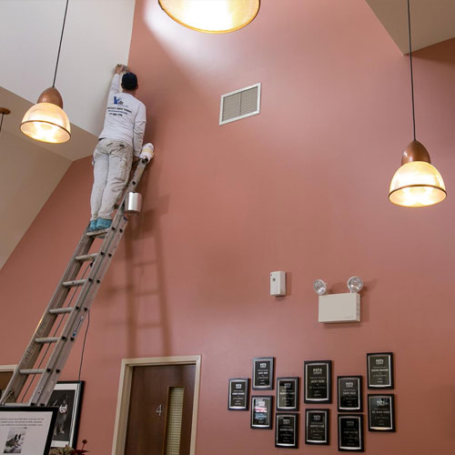 Salmon colored Accent wall